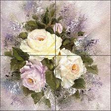"Floor Tile Medallion Mural Cook Floral Flowers Rose Art 16"" x 16"" CC008"