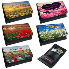 More details for personalised tobacco pouch butterfly rolling baccy wallet smoking gift flowers