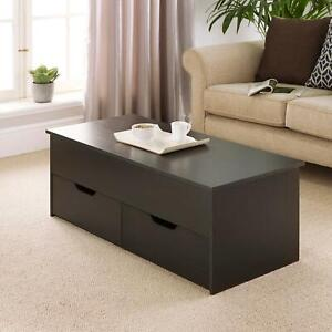 Black Wooden Coffee Table With Lift Up Top and 2 Large Drawers Bruges Seconds