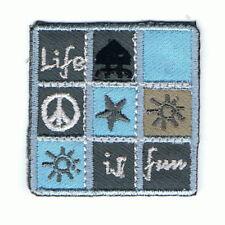 "Nine Patch ""Life is fun"", blau/, Applikation, Patch, Aufbügler, zum Aufbügeln"