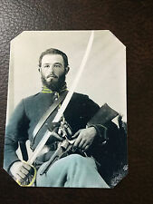 civil war Military  UNION SOLDIER with Saber Sword and Pistol tintype C854RP