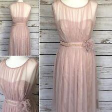 Stunning Pink Corsage Midi Dress Size 10 UK Formal Bridesmaid Prom BNWT