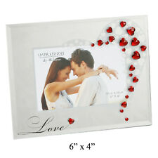 "NEW Glass Photo Frame with Love Red Heart Crystals 6x4"" Couples Picture Gift"