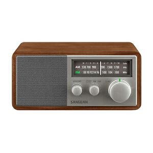 Sangean SG-116 FM AM Analog Wooden Cabinet Receiver Walnut and Silver