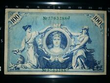 1908 100 Mark Germany Empire Rare Old Vintage Big Paper Money - Used