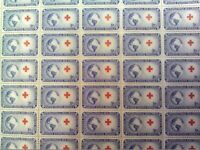 1952 - INTERNATIONAL RED CROSS - Full Mint Sheet of 50 Vintage Postage Stamps