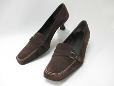Stuart Weitzman Dark Brown Suede leather Buckle Loafer Pump Low Kitten Heel 7.5M