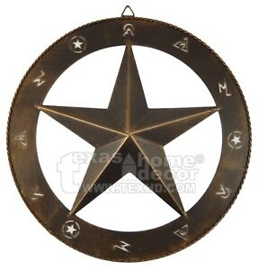 "15"" Star Wall Decor Cattle Markings Brushed Copper Rustic Western Ranch Style"