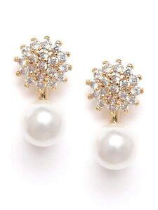 Zaveri Pearls Gold Tone Cubic Zirconia & Pearl Contemporary Brass Stud Earring