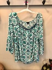 NEW DIRECTIONS Career Top Bell Sleeve Plus Size Navy Green White Off Shoulder