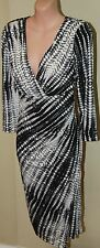 Womens Black, Charcoal and Ivory X Cut Dress - Lovers - Size 14
