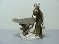 ANTIQUE ROYAL DUX BOHEMIA FIGURAL DISH / TRAY, WOMAN AT SHELL BASIN with FROG