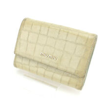 miumiu Wallet Purse Trifold Beige Green Woman Authentic Used Y4263