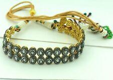 Natural Diamond Polki Rose Cut Diamond 18k Gold 925 Sterling Silver Necklace
