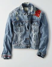 NWT AMERICAN EAGLE Misses Denim Jacket Medium Wash Destroy Embroidered