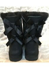 UGG Size 9 Bailey Bow II Black Classic Short Boots Water Resist 1016225