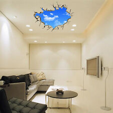 Removable Wall Sticker Blue Sky Clouds Window Art PVC Decal Mural 3D PVC