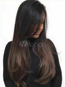 100% Human Hair New Fashion Gorgeous Long Dark Brown Straight Women's Full Wigs