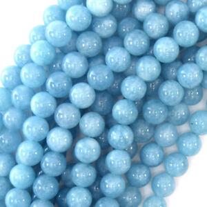 "6mm 8mm 10mm 12mm Blue Brazilian Aquamarine Quartz Gems Round Loose Beads 15""AAA"