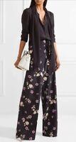 Valentino Floral-print silk crepe de chine wide-leg pants (NWT)