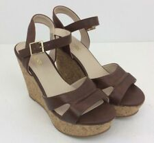 FIORE Cork Wedge Faux Leather Womens Sandals Shoes Straps Brown Size 4 UK