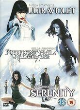 3 GREAT FILMS ULTRAVIOLET * RESIDENT EVIL; APOCALYPSE * SERENITY - 3 DVD BOX SET