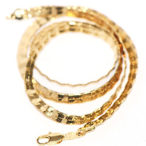 Long 20 inches Mens Flat Snake Chain Necklace Fashion Jewerly Cool Gold Filled