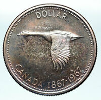 1967 CANADA Confederation Founding OLD Goose Genuine Silver Dollar Coin i83664