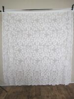 Curtain Lace Panel Floral Leaves 58 W x 60 L Cottage Chic Vintage Scalloped Ecru