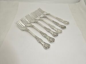 "6 ANTIQUE TIFFANY ENGLISH KING STERLING SILVER SALAD FORKS,6 5/8"",EXCELLENT"