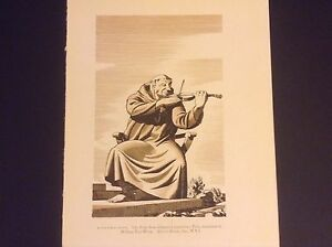 Vintage 1930s Rockwell Kent Print The Friar from Chaucer's Canterbury Tales