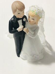 Bride Veil Groom Figurines Porcelain Wedding Cake Topper Lefton Vintage 1985