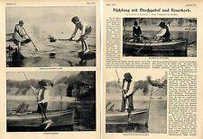 Fischfang ( Hummerfang )mit Stechgabel und Feuerkorb Histor.Foto-Report von 1906