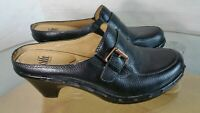 Sofft Black leather mules Women's Size 8 M heels shoes slides Buckle