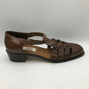 Talbots Womens Sandals Brown Braided Leather Ankle Strap Block Heels 10.5 M