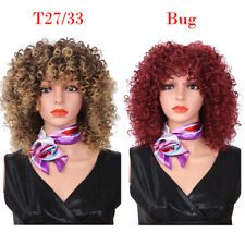 Short Ombre Afro Kinky Curly Wig Synthetic African Full Wig for Women With Bangs