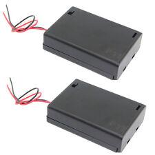 (2 PCS) 3 x AA R6 Battery Clip Holder Case Box 3.6V 4.5V +Cover+ON/OFF Switch