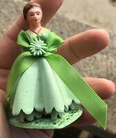 "Vintage Green Dress Bride Cake Topper #5 Made In Hong Kong 3 X 2 1/2"""