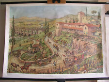 Schulwandbild Römisches Reich Zeit des Kaisers Augustus 98x69cm vintage Octavian