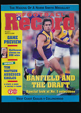 1998 AFL Football Record West Coast Eagles vs Collingwood Round 3 unmarked