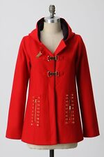 NWD$288 Madchen Red Firehouse Hooded Wool Coat from Anthropologie S (fits 2-4)