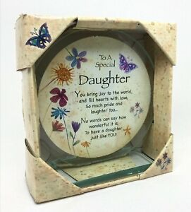 Special Daughter Poem Cut Glass Round Plaque Special Keepsake Gift