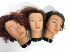 Female Face Mannequin Head Trio Real Hair Model Face Mask Hat Glasses Display