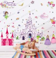Princess Castle Fairy Unicorn Girls Wall Decals Stickers Children Kids Art Decor