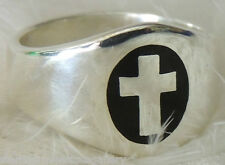 STATEMENT MAKING MEN'S 925 Sterling Silver CROSS BAND Thumb RING size 12 OR Y