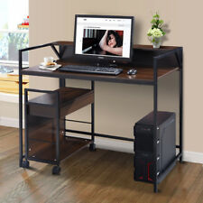 Wood Computer Desk Office Laptop Table Writing Workstation W/ Side Cabinet New