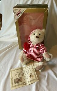 """IOB Bialosky 14"""" Jointed White Teddy Bear Charlie in Night Shirt w Certificate"""