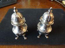 More details for pair solid silver salt & pepper shakers 104 grs birmingham