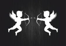 2x autocollant sticker voiture moto ange angel amour muraux ailes cupidon blanc