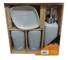 Set 4 Accessori Bagno Ceramica PortaSapone Porta Spazzolino Dispenser 52553 dfh